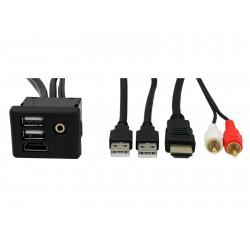 Extensión 2 Usb, Hdmi RCA miniplug auxiliar universal Auto Estereo 29ax27